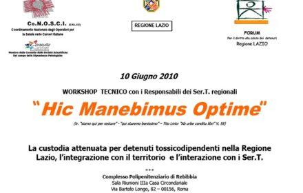 """Workshop tecnico: """"Hic Manebimus Optime"""""""